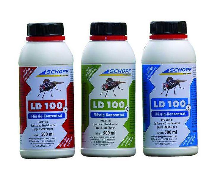 LD 100 B tekutý koncentrát k hubení much ve stáji 500 ml, účinná látka Cypermethrin 9, 9%