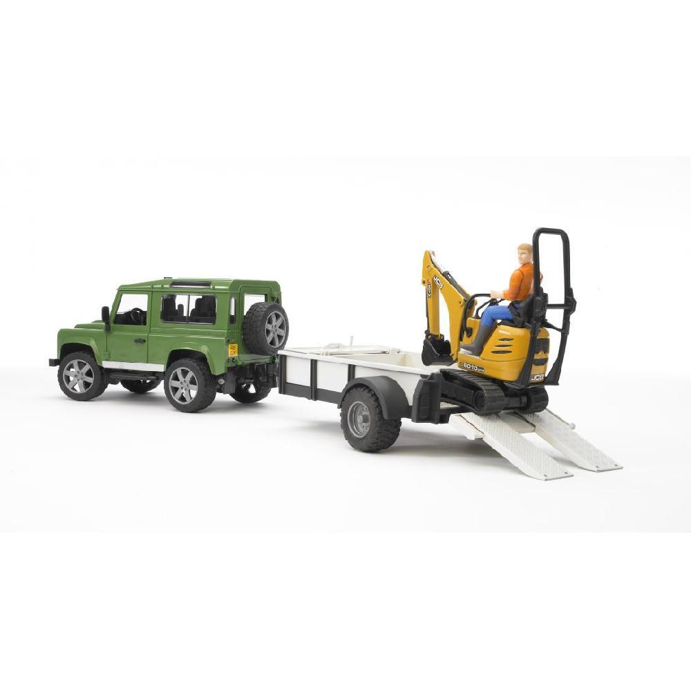 Bruder - Land Rover Defender s jednonápravovým přívěsem JCB Mikrobagger a stavební dělník