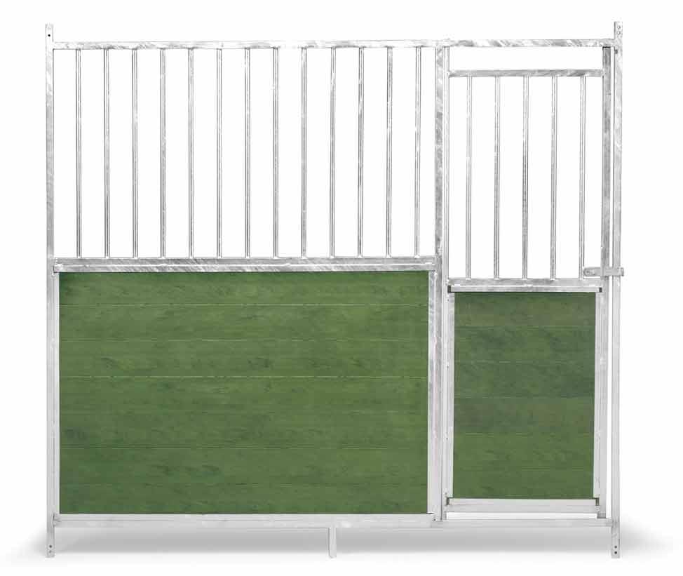 Přední stěna venkovního boxu 1,5 x 1,85 m pro psy kombinace tyčoviny a PVC s dvířky