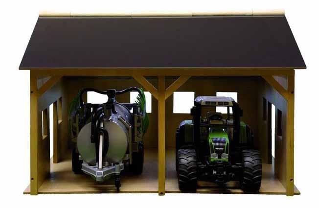 Kids Globe - hala (garáž) na 2 traktory Bruder, měřítko 1:16