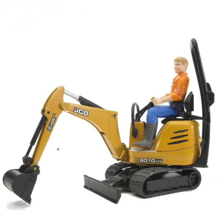 Bruder - JCB Mikrobagr 8010 CTS se stavebním dělníkem
