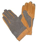 Jezdecké rukavice kožené s textilní hřbetovou částí