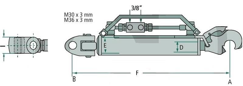 Schéma třetího bodu hydraulického kat. 3-3