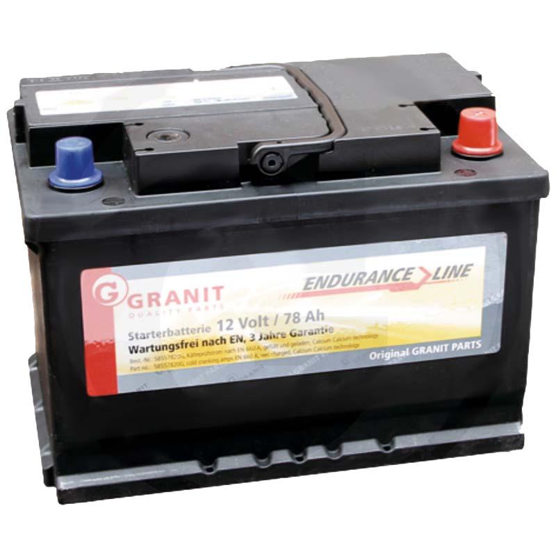 Startovací baterie Granit 12V / 78Ah plná, vhodná pro elektrické ohradníky