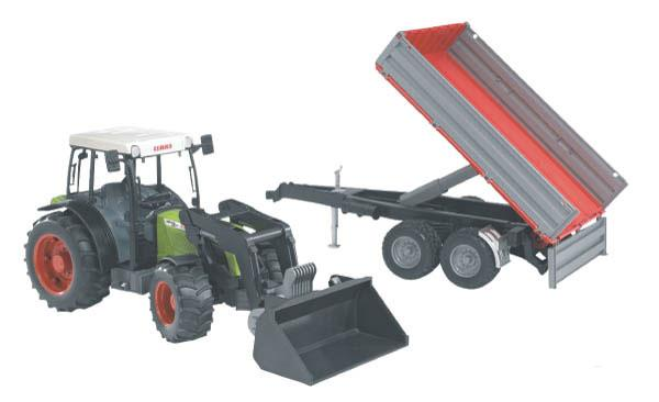 Bruder - traktor - Claas Nectis 267 F s čelním nakladačem a přívěsem