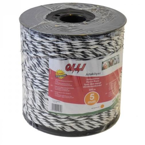 Ohradníkové lanko SHOCKTEQ OLLI 5 mm/300 m polyetylénové černo-bílé odpor 1,6 Ohm/m