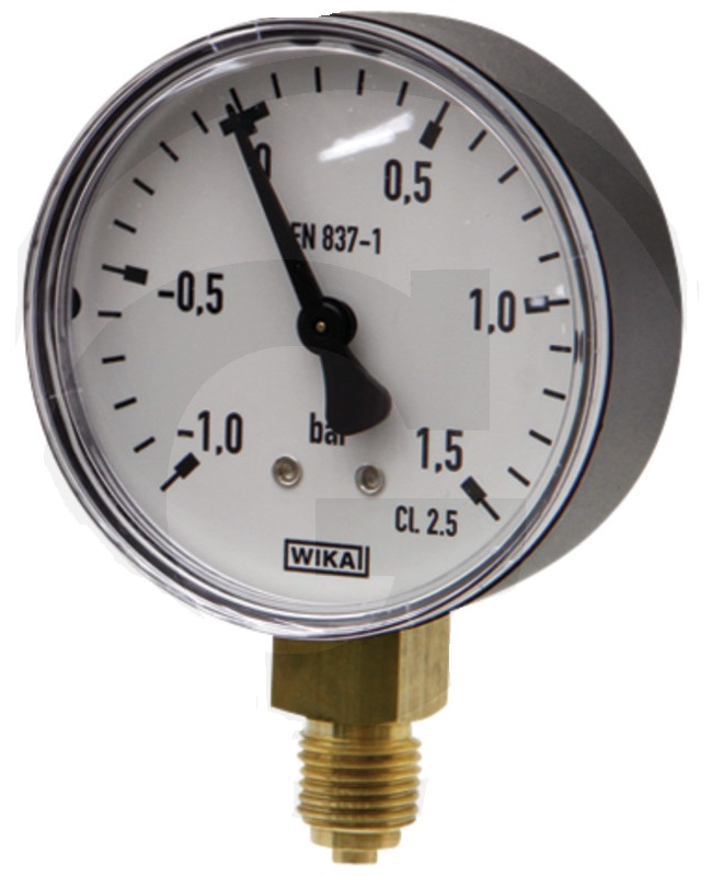 Vakuový tlakoměr pro fekální vozy průměr 63 mm přípoj dolní suchý 1/4″