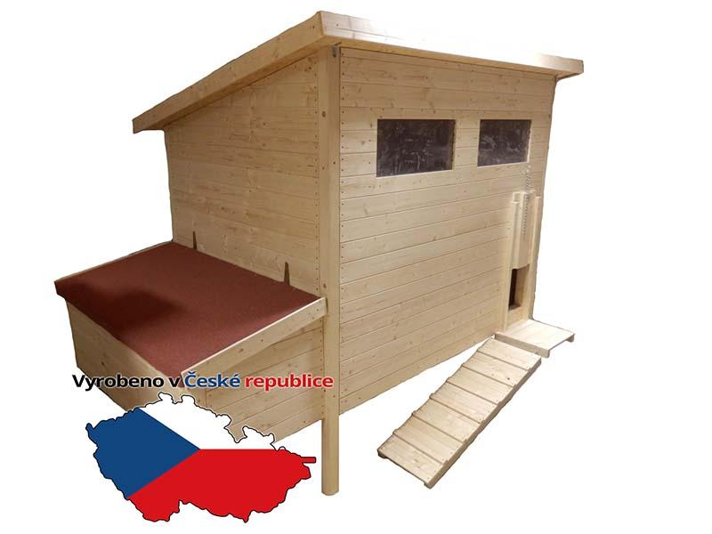 Zateplený dřevěný kurník pro slepice Blansko včetně košíků do kukaně