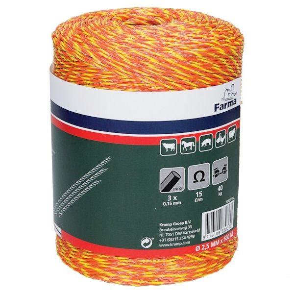 Klasické ohradníkové lanko FARMA oranžovo-červené polyetylénové 2,5mm/500 m 15 Ohm/m