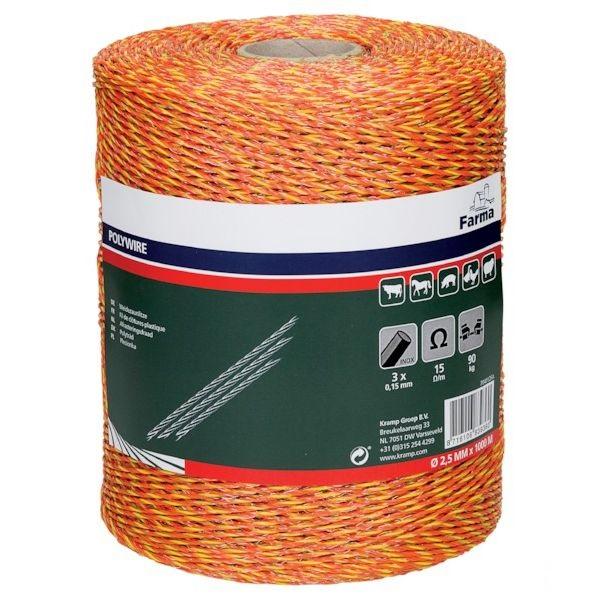 Klasický vodivý oranžovo-červený provázek FARMA 2,5 mm/1000 m pro elektrický ohradník