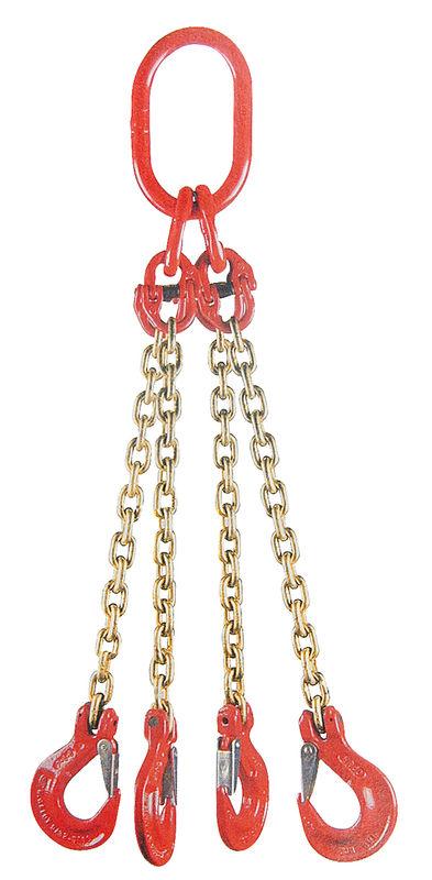 Jeřábový řetěz G8 čtyřpramenný síla 8 mm délka 1 m s okem a háky