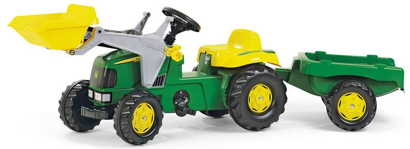 Rolly Toys – šlapací traktor John Deere s přívěsem a čelním nakladačem Rolly Kid