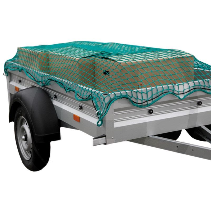 Fotografie Ochranná síť pro přívěsy, přívěsné vozíky 4,5 x 2,5 m k zajištění nákladu oka 30 mm zelená