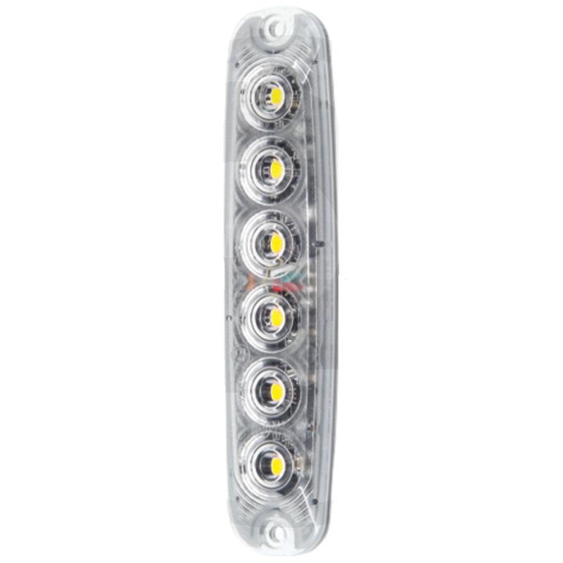LED přední blikačka svislá vertikální 12V/24V 6 LED diod se žlutým světlem