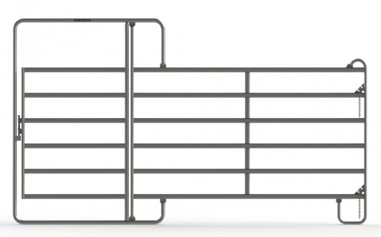 Ohradní panely Texas s dveřmi různých délek výška 2,1 m pro koně a skot