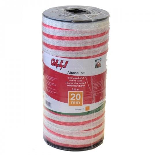 Červeno-bílá ohradníková páska OLLI 20 mm/200 m odpor 0,91 Ohm/m