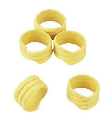 Spirálové kroužky na husy a krůty 18 mm žlutý 20 ks