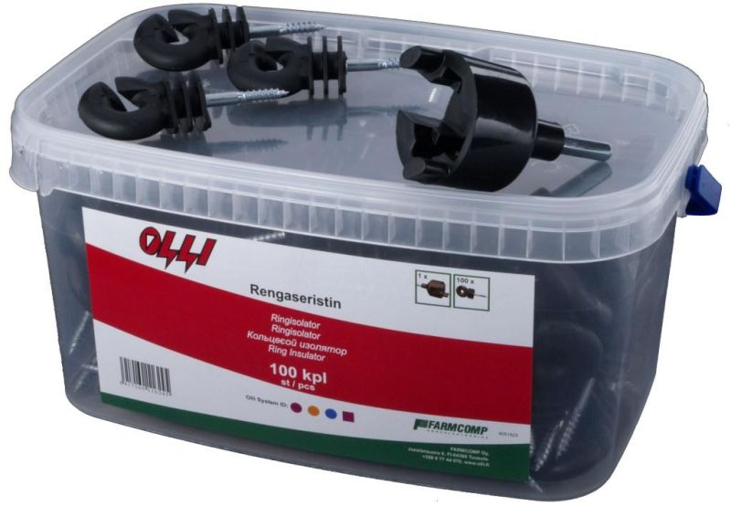 Kruhový izolátor Olli s vrutem 6 mm pro elektrický ohradník 100 ks