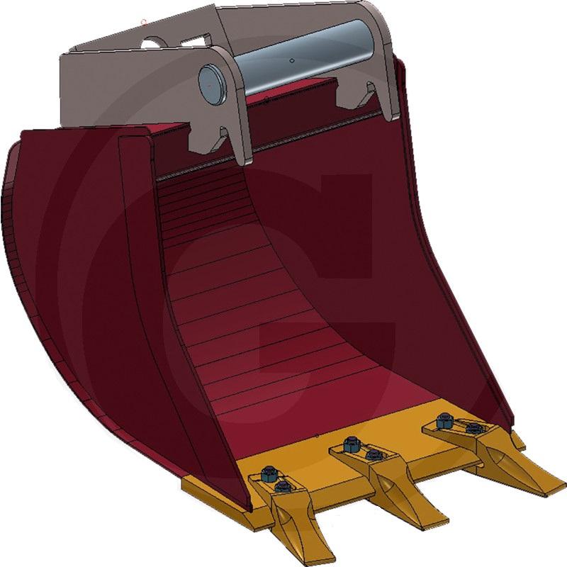 Hluboká lžíce řady ULTRALEICHT se 3 šroubovacími zuby šířka 400 mm objem 31 l přípoj MS01