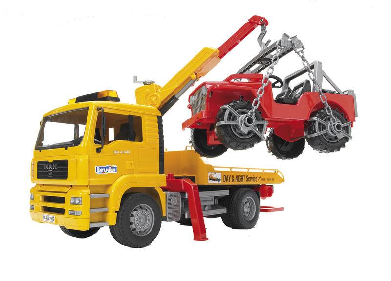 Bruder - MAN TGA nákladní auto odtahová služba s teréním autem