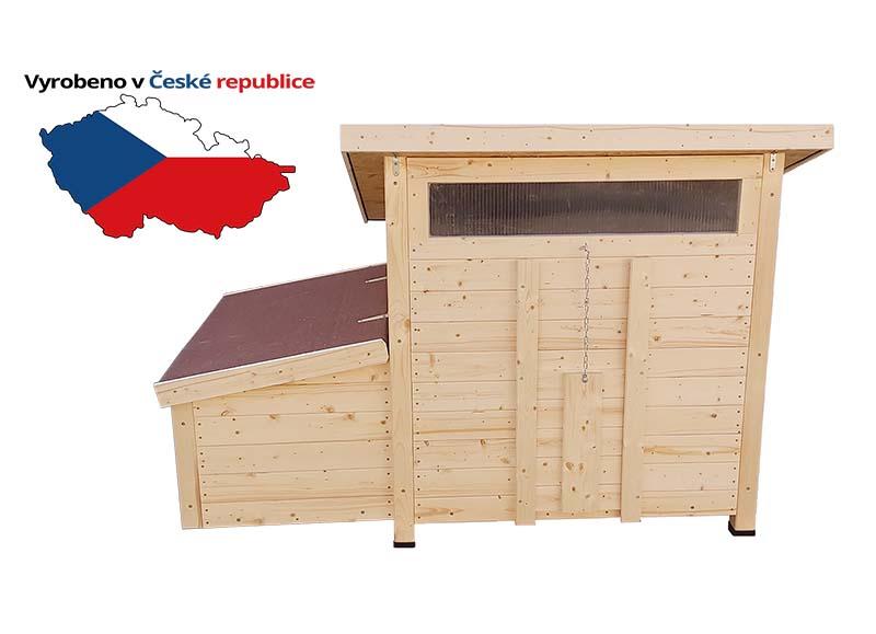 Zateplený dřevěný kurník pro slepice Vranov český truhlářský výrobek včetně košíků