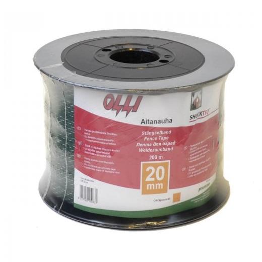 Zelená ohradníková páska SHOCKTEQ OLLI 20 mm/200 m vyztužené okraje odpor 0,91 Ohm/m