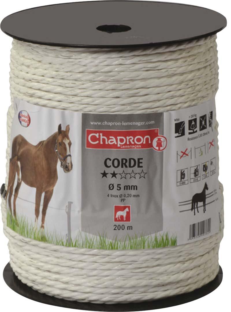Ohradníkové lanko Chapron CORDE 5 mm/200 m bílé polyetylénové odpor 3,8 Ohm/m