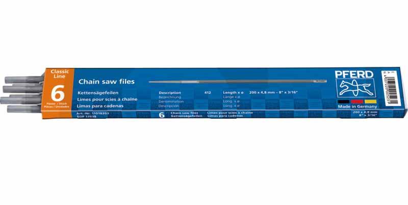"""Kulatý pilník PFERD Standard na pilové řetězy 1/4"""" + 3/8"""" Hobby průměr 3,5 mm balení 6 ks"""