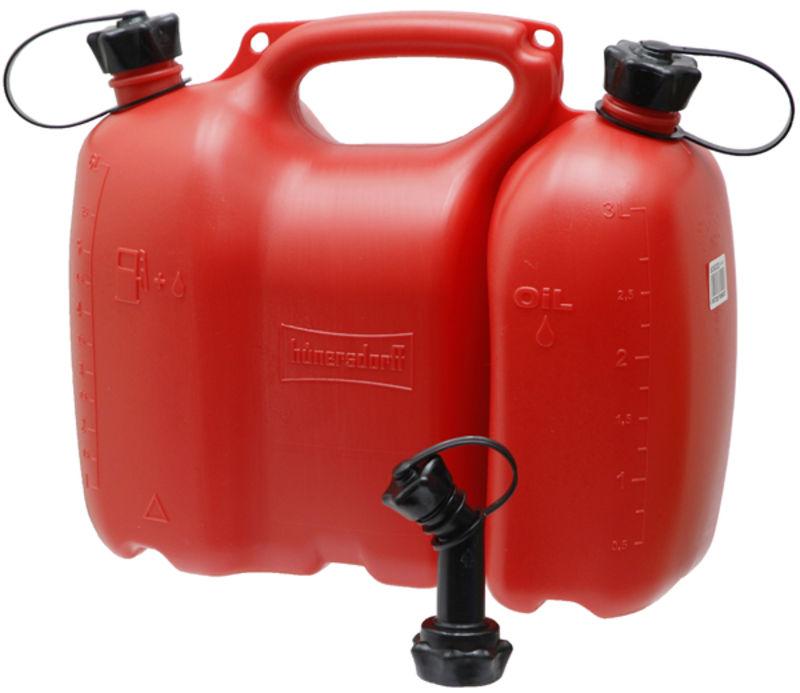 Kombinovaný dvojitý kanystr Profi červený na 6 l paliva a 3 l řetězového oleje