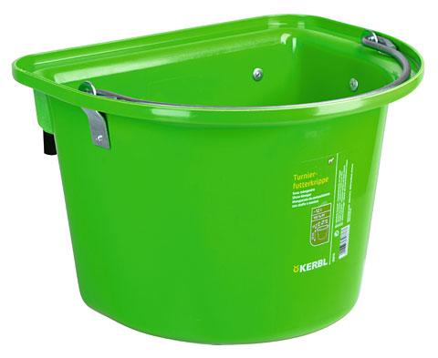 Závěsný kbelík pro koně zelený s uchem a 2 kovovými držáky