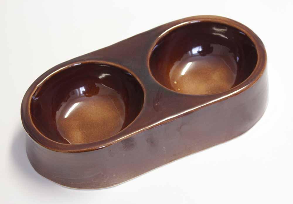 Keramická kameninová miska Double 2x 250 ml na krmivo pro králíky, psy, kočky, ptactvo