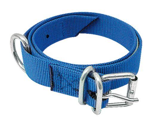 Obojek pro telata modrý - z treviry, zesílený kůží, délka 850 mm