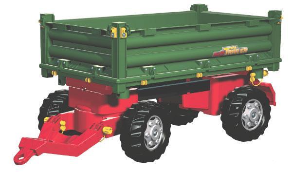 Rolly Toys - třístranný sklápěč za šlapací traktory a nakladače zelený nižší