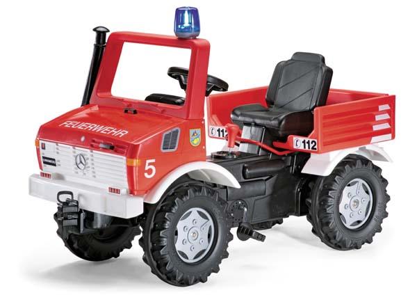 Rolly Toys - Mercedes-Benz Unimog šlapací požární auto s řazením, brzdami, majákem