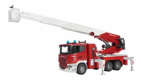 Bruder - SCANIA R požární vozidlo se žebříkem včetně světelného a zvukového modulu