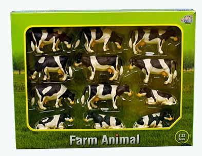 Kids Globe - krávy černobílé 12 ks v různých polohách v měřítku 1 : 32