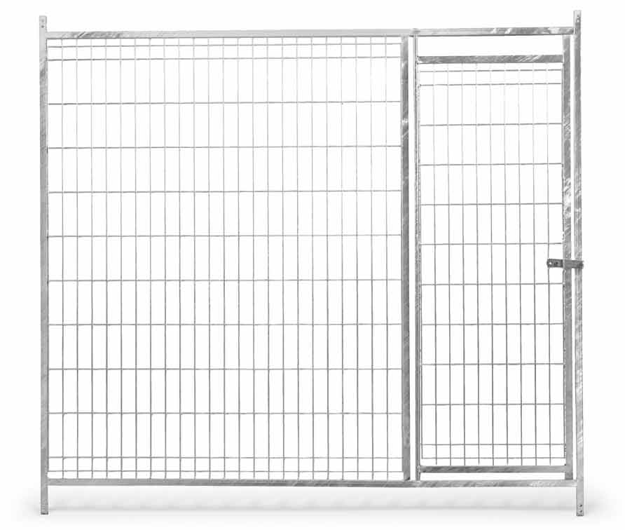 Přední stěna venkovního boxu 1,5 x 1,85 m pro psy z pletiva s dvířky