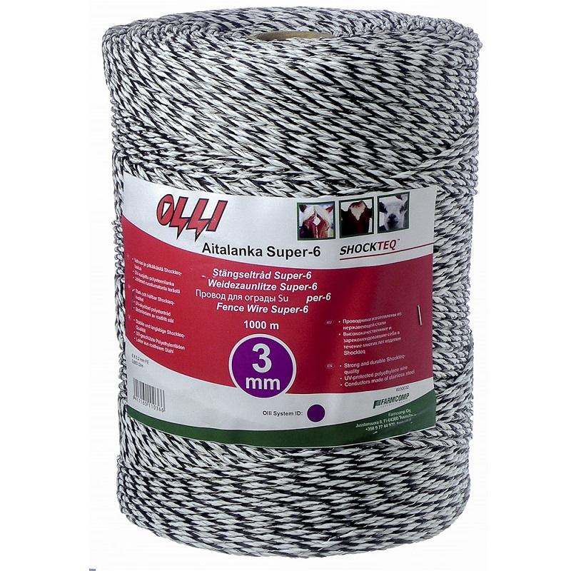 Ohradníkové lanko SHOCKTEQ OLLI Super-6 3 mm/1000 m polyetylénové černo-bílé 0,98 Ohm/m