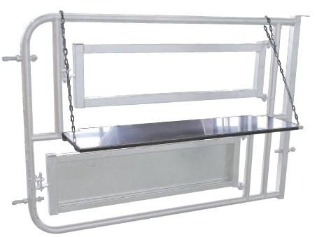 Pánevní podpěra pro porodní a inseminační box Cosnet pro skot z nerezové oceli s řetězem