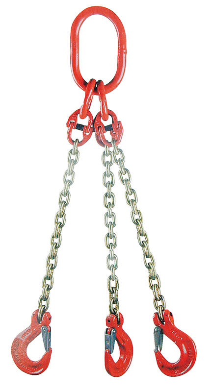 Jeřábový řetěz G8 třípramenný síla 8 mm délka 1 m s okem a háky