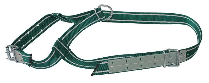 Ohlávka pro býka podložená kůží šířka 50 mm zelenobílá