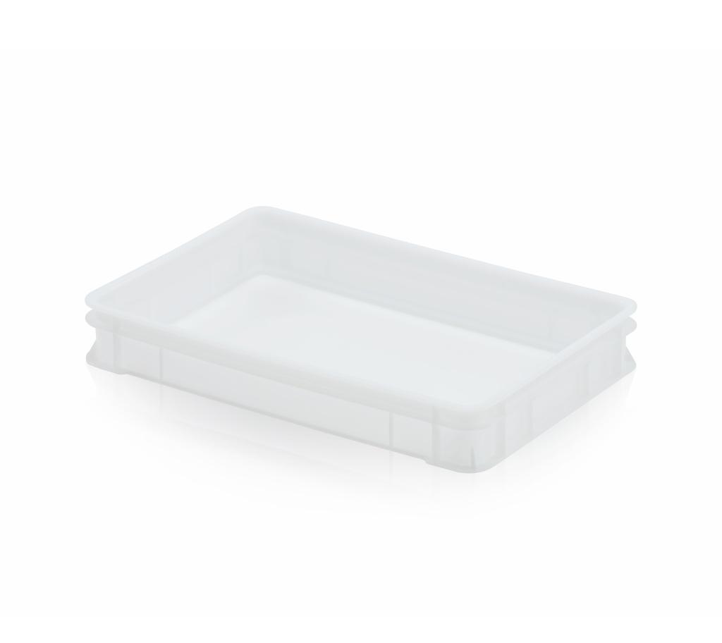 Hygienická plastová cukrářská přepravka na lahůdky a cukrovinky nízká, nosnost 10 kg