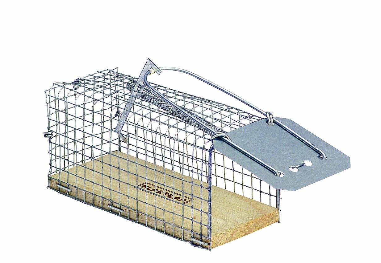 Sklopec na myši kovový, dřevěné dno 120 x 60 x 60 mm