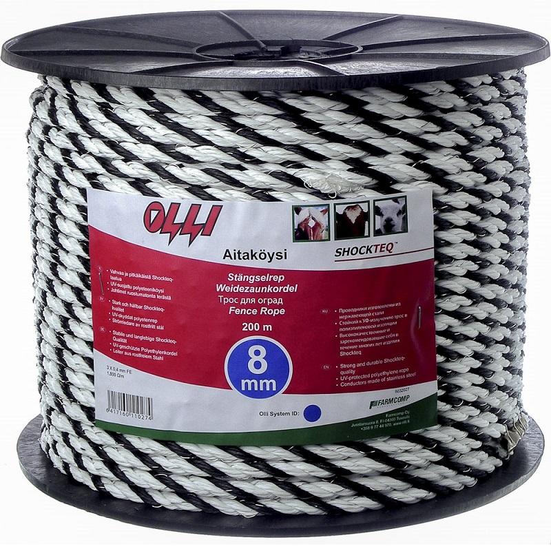 Ohradníkové lanko SHOCKTEQ OLLI 8 mm/200 m polyetylénové černo-bílé odpor 1,6 Ohm/m