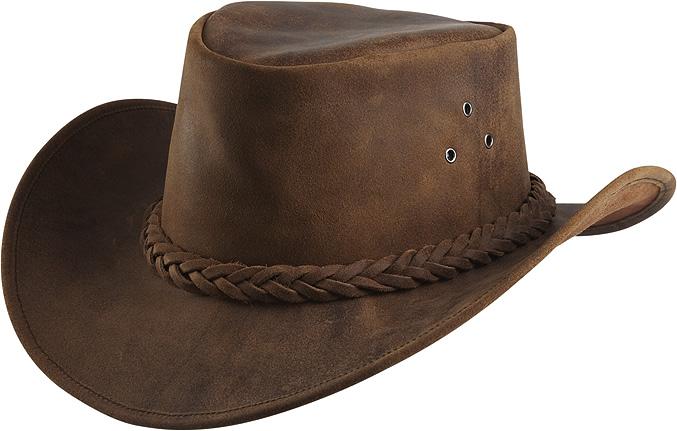 Westernový klobouk RANDOL'S Antique kožený hnědý, různé velikosti