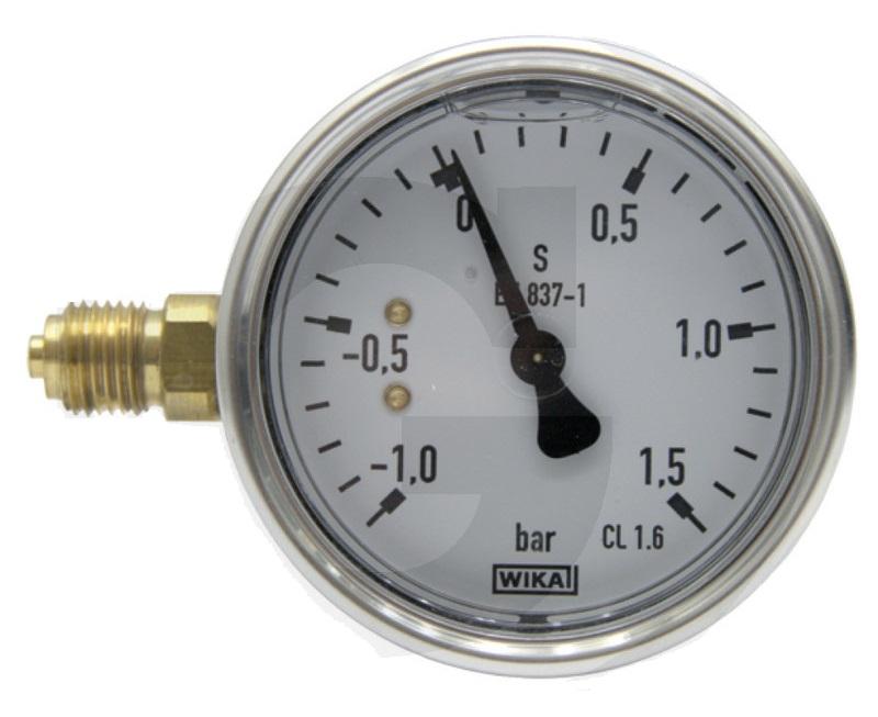 Vakuový tlakoměr, manometr Wika pro fekální vozy průměr 63 mm přípoj boční 1/4″
