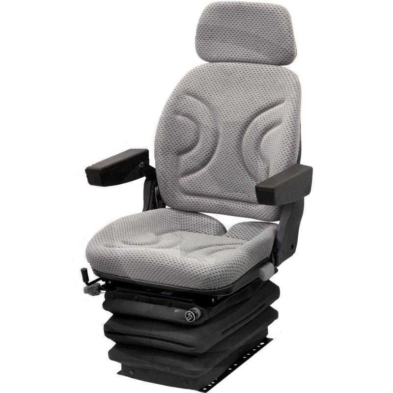 Traktorová sedačka Granit vzduchově odpružená šedá tkanina bez pásu