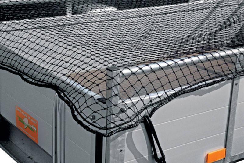 Ochranná síť pro přívěsy, přívěsné vozíky 1,5 x 2,5 m k zajištění nákladu oka 30 mm černá