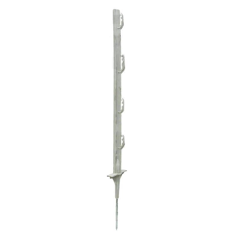 Bílá plastová tyčka s ocelovou špičkou 75 cm pro elektrický ohradník
