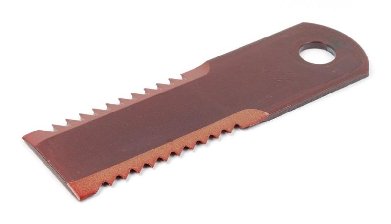Nůž do drtiče slámy Rasspe ozubený pro Biso, Deutz, JD, KPAB, NH tloušťka 4 mm